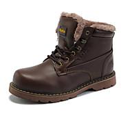 Maueken Men's Brown High Heel Simple With Velvet Big Head Shoes