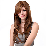 Capless Long Body Stright Brown Synthetic Wig Side Bang