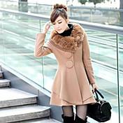 KICAI Fur Collar Tweed Swing Overcoat
