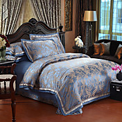 4-Piece 350TC Blue and Gold Jacquard Floral Duvet Cover Set