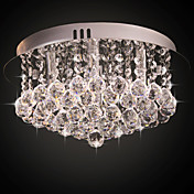 Crystal Flush Mount, 4 Light, Modern Column Stainless Steel Electroplating