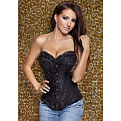 CAOJI Women's Sexy Black Strapless  Lace  Corset and T-back