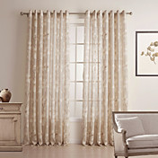 (One Pair) Country Floral Linen/Cotton Blend Sheer Curtain