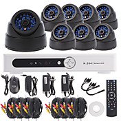 CCTV Surveillance System 8CH Channel H.264 DVR Kit(8pcs 420TVL 1/4 CMOS Dome Camera)