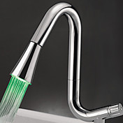 Contemporary Chrome Finish Multi-Color LED Kitchen Faucet