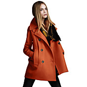 LACLOS Women's Fashion Korean Wool Coat(Orange)