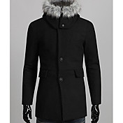 Fannuo Men'S Big Yard Removable Hoodie Tweed Coat