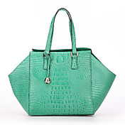 SCIDACA Gorgeours Alligator Pattern Cow Leather Green Tote