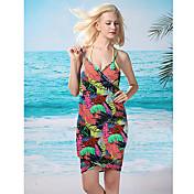 HERA Women's Bohemian V Neck Floral Print Leaves Beach Dress