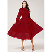 Shozilan Women'S Long Sleeve Red High Waist Chiffon Dress