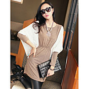 Women's Contrast Color Cape Sleeve Mini Dress