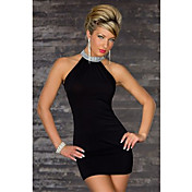 Aifei Sexy High Neck Lycra Dress With Sequins(Black)