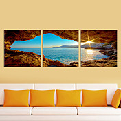 Stretched Canvas Art Landscape to the Sea Set of 3