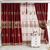 (One Panel Grommet Top) Fancy European Luxuriant Floral Embroidery Energy Saving Curtain