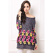 Women'S Autumn & Winter Long Woolen Sweater Small Flower Print