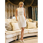 Sheath/Column Jewel Knee-length Satin Wedding Dress