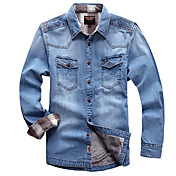 Men'S Thick Down Denim Shirt