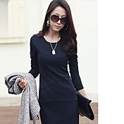 YGR Women's Navy BLue High Quality Fitted Long Sleeve Dress