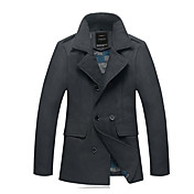 Power Man Solid Color Tweed Overcoat(Gray)