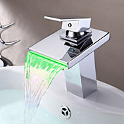 Contemporary Thermochromic Multi-color LED Stainless Steel Spout Bathroom Sink Faucet