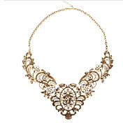 MISS U Women's Gold Vintage Luxury Lace Metal Ladies Short Necklace