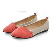 Shanhu Pointed Toe Contrast Color Flat Heel Pumps(Red)