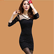 CoolCube Women's V neck Floral Pattern Lace Long Sleeve Bodycon Dress Black