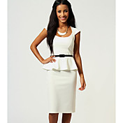 6 Colors New Fashion Women Black and White Peplum Bodycon OL Office Lady Casual Dress with Belt 9052