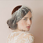 Tulle Wedding/Party Blusher Veils With Pearls