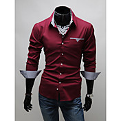 V's Check Lining Long Sleeve Slimming Shirt(Wine)