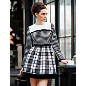 TS Vintage Color Block Houndstooth Grid Swing Dress