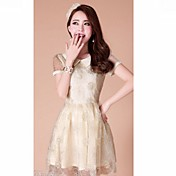 Chaoliu Short Sleeve Organza Dress(Beige)