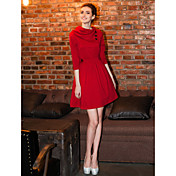 TS Turtle Neck A Line Swing Dress