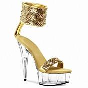 Faux Leather Women's Stiletto Heel Platform Sandals Shoes with Sequin (More Colors)