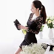 CoolCube Women's V neck Lace Long Sleeve Bodycon Dress Black