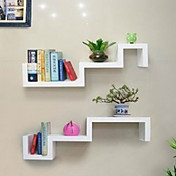 Modern Stoving Varnish White Wooden Shelf (1 Piece)