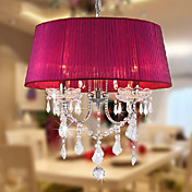Crystal Chandeliers, 4 Light, Country Romantic Metal Fabric Electroplating
