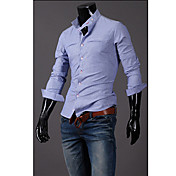 T&L Casual Long Sleeve Stripe Shirt(Blue) Z8921