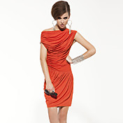 Daibo Elegance Grasp Fold Word Collar Asymmetrical Dress (Orange)
