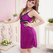 Sexy Midnight Lace Satin Sexy Nightwear Dress(Purple)