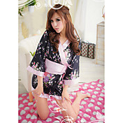 Bybs Women's Black Lace Designed Kimono Nightwear