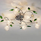 Chandelier, 6 Light, Country Aluminum Glass Chrome