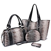 Fenghui Women'S  Pu Leather Shoulder Bag Evening Bag Small Bag Tote Four Piece Set
