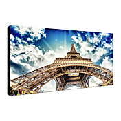 Stretched Canvas Print Art Landscape Looked Up at Eiffel Tower