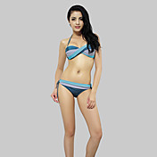Holrgold Swimwear Women's Fashion Splicing Color Bikini Swimsuit(Blue)