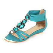 Faux Leather Women's Low Heel Comfort Sandals Shoes(More Colors)