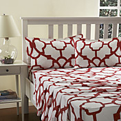Sheet Set,4-Piece Red Geometricl Pattern