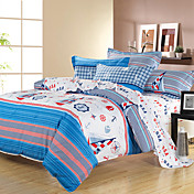 BALIYA Cotton Sea Style 4 Pcs:Quilt Cover*1,Sheet*1,Pillow*2(Screen Color)