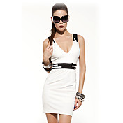 HYD Women's  Sleeveless Hit Color Backless Sexy Dress