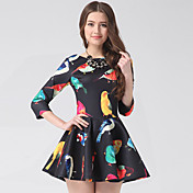 KUMOTA Women's Fashion Round Neck Colorful Pattern Swing Dress